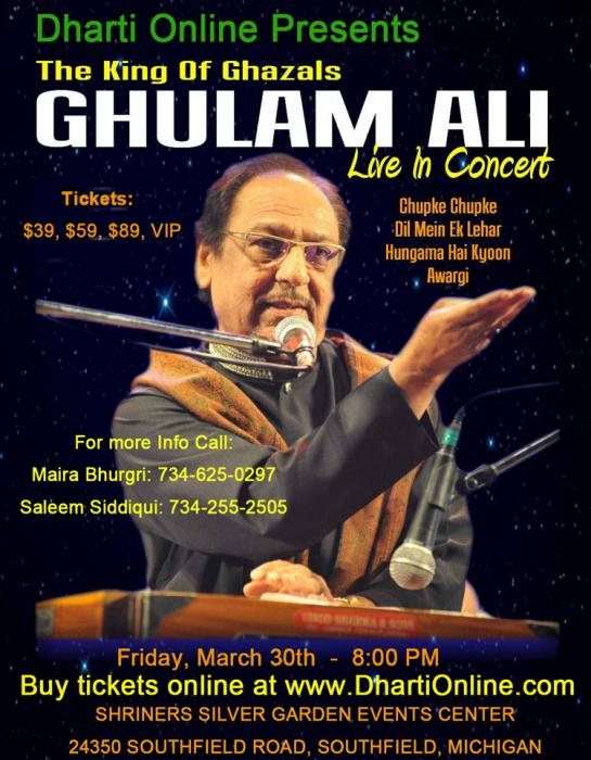 Dharti Online Presents The King Of Ghazals Ghulam Ali Live In Concert March 30th Mibihar